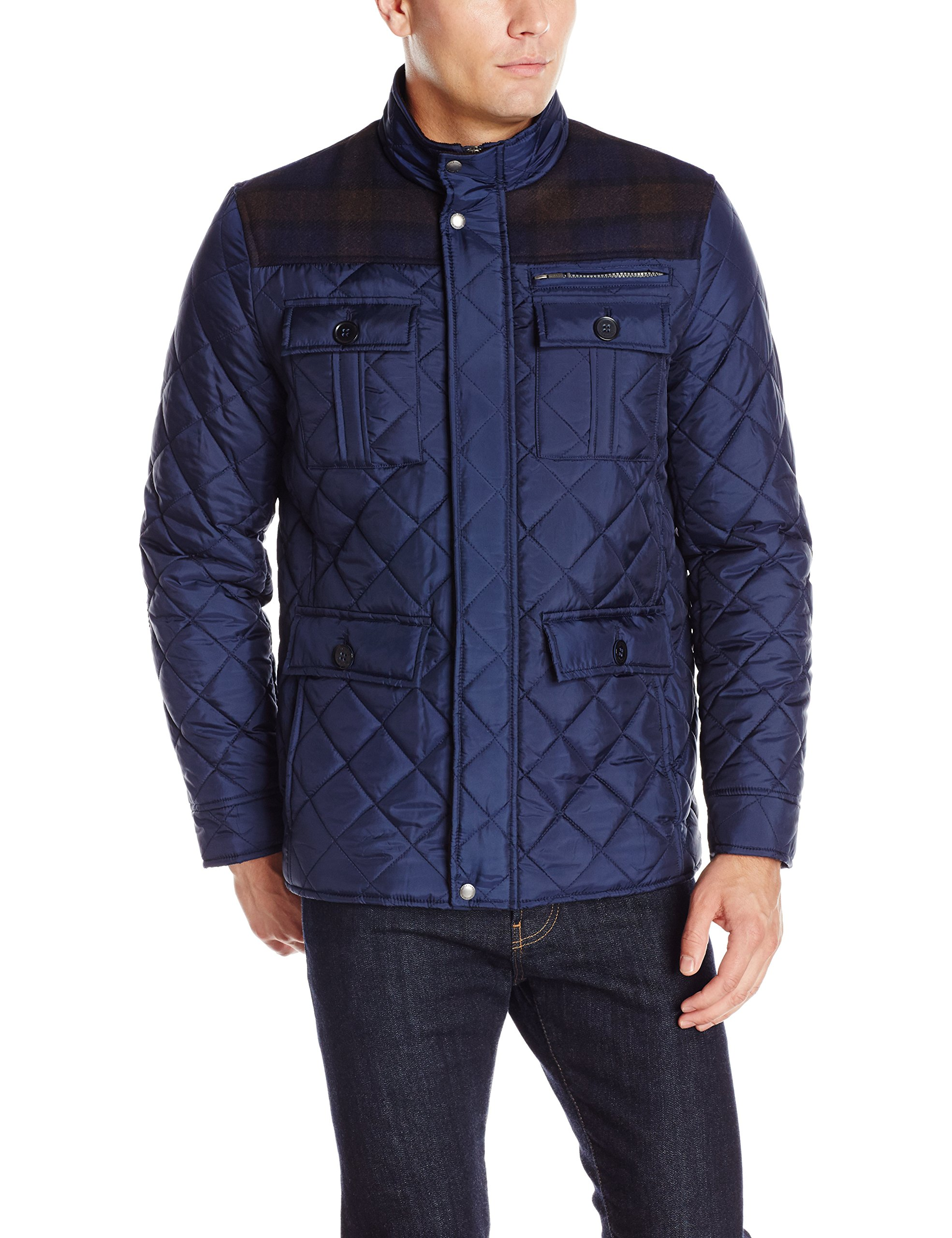 Cole Haan Signature Men's Plaid Wool Mixed Media Multi Pocket Jacket, Navy, Large by Cole Haan Signature