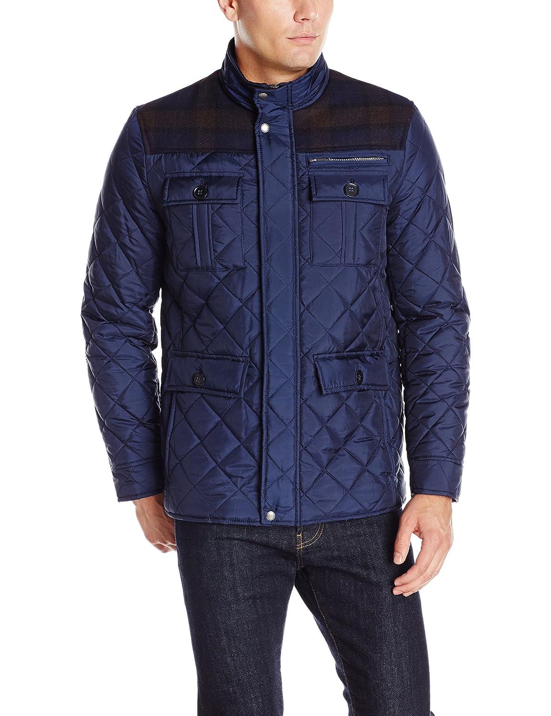 Cole Haan Signature Men's Plaid Wool Mixed Media Multi Pocket Jacket 535sp577