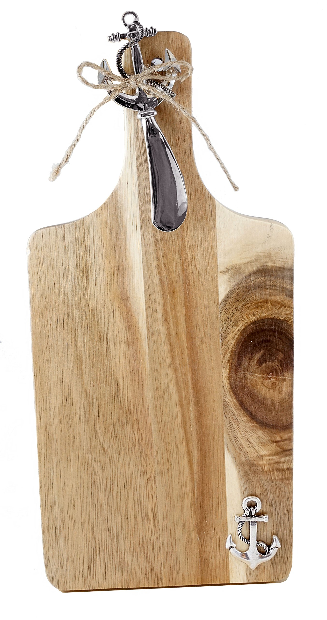 Nautical Anchor Acacia Wood Cheese Tray and Spreader Set