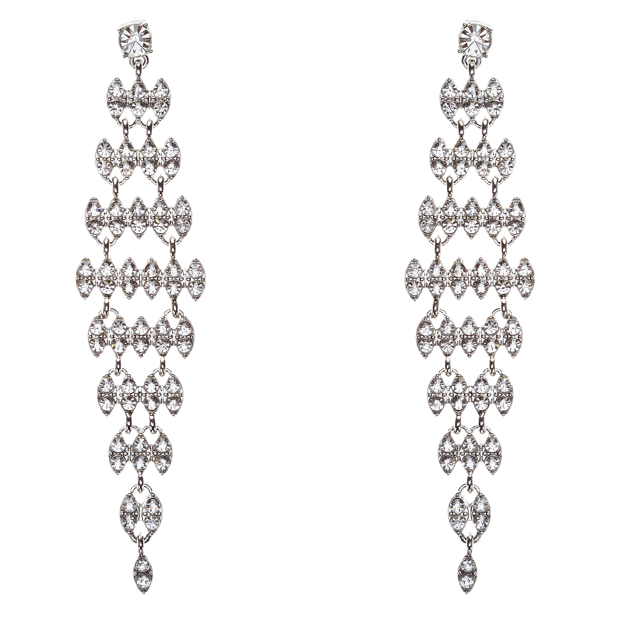 Bridal Wedding Jewelry Crystal Rhinestone Stylish Dangle Earrings E806 Silver