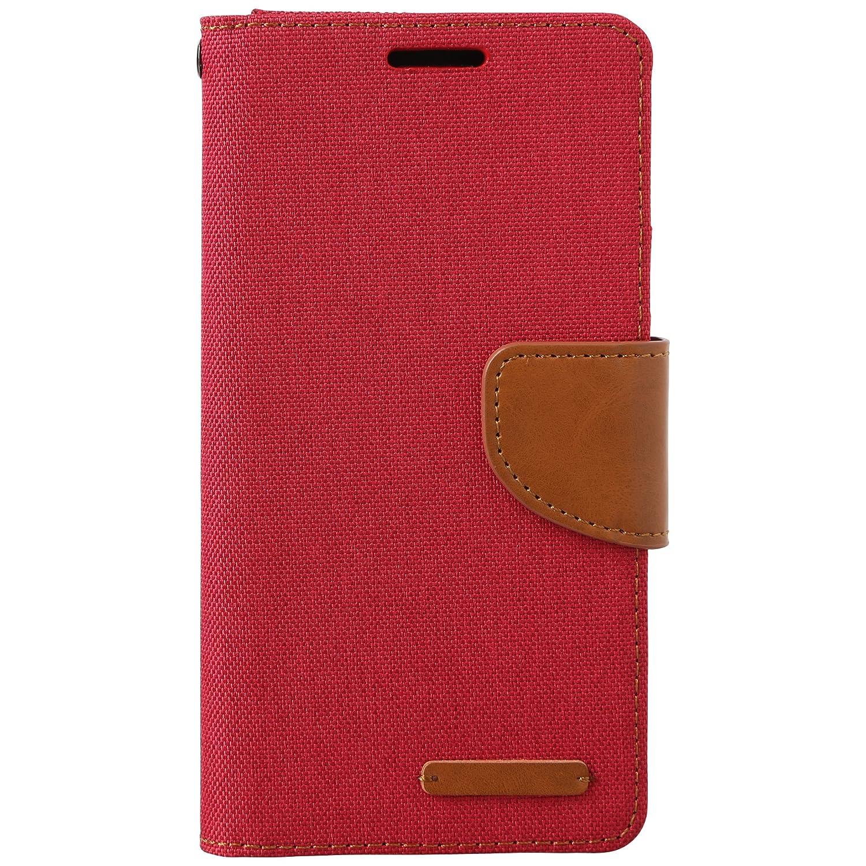 Ultratec Funda protectora para Samsung S6 con efecto lino rojo con funci/ón de soporte y compartimentos interiores