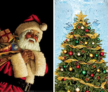 wowindow posters santa claus and christmas tree combo christmas window decorations 345x60 backlit - Christmas Window Decorations Amazon