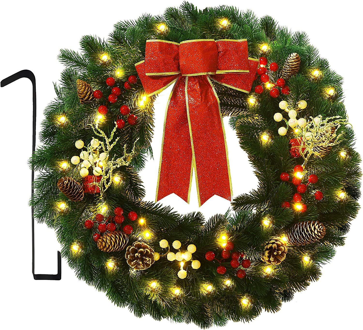 ATDAWN 24 Inch Christmas Wreath, Outdoor Lighted Christmas Wreath for Front Door, Xmas Wreath for Holiday Christmas Party Decorations
