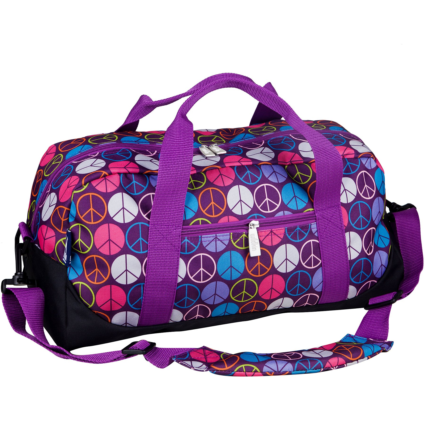 Wildkin Overnighter Duffel Bag, Features Moisture-Resistant Lining and Padded Shoulder Strap, Perfect for Sleepovers, Sports Practice, and Travel – Peace Signs