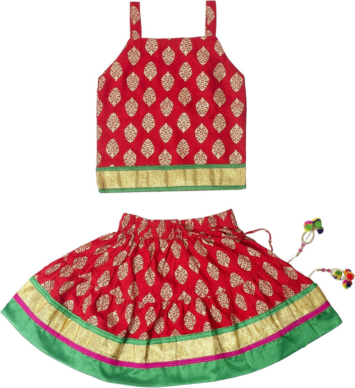 Chandrakala Kids Lehenga Choli Set Ethnic Traditional Party Wear Dress Skirt Tops for Girls KL101