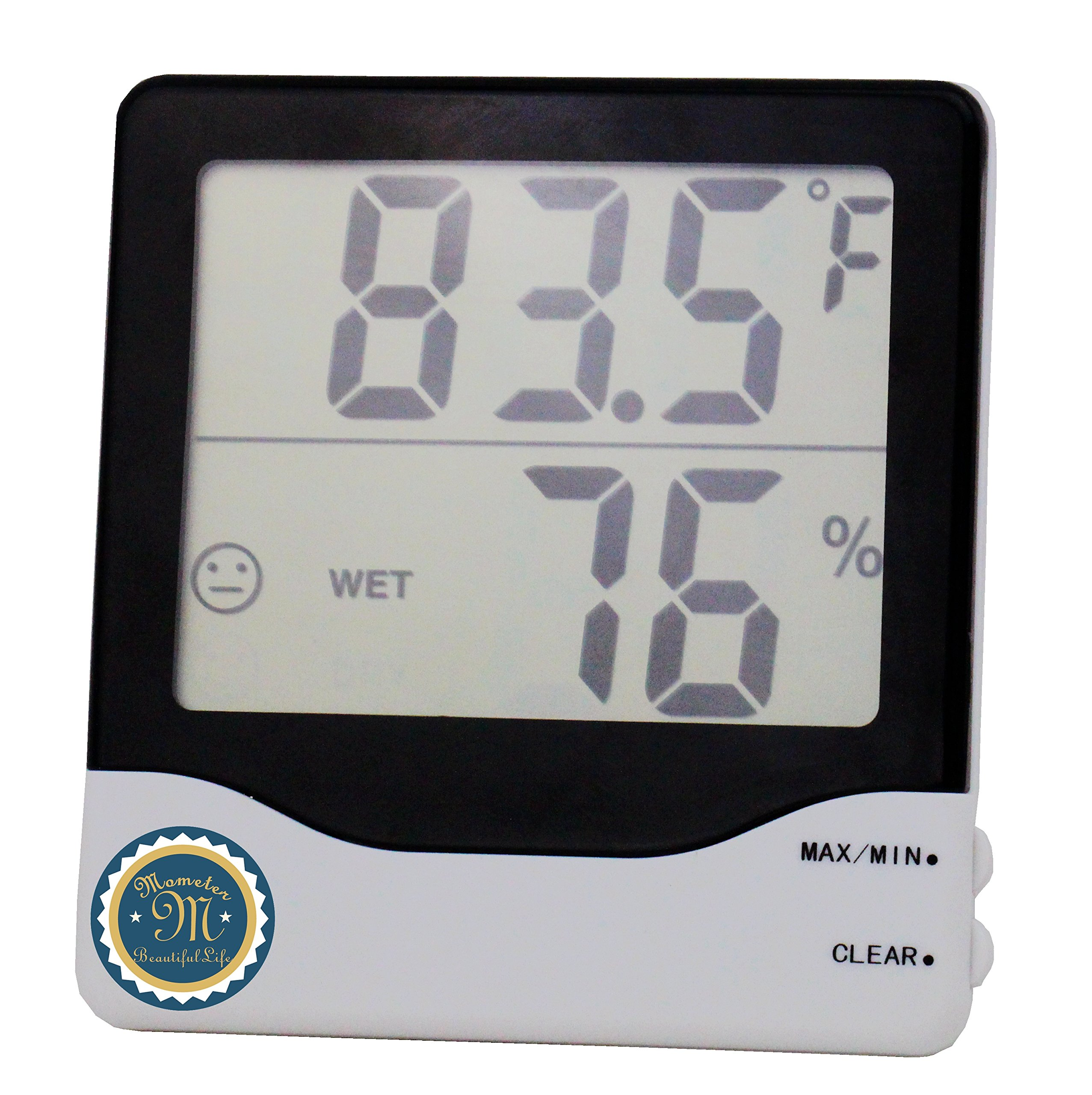 M-Mometer Easy Read Baby Room Thermometer Hygrometer. Indoor Temperature Humidity in Celsius & Fahrenheit MIN/MAX records for Office, School, Hotel and Kindergarten
