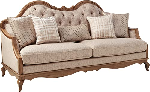 ACME Chelmsford Beige Fabric and Antique Taupe Sofa