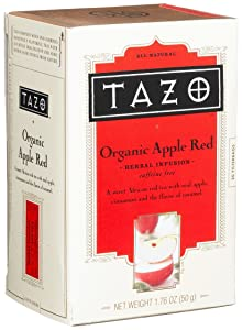 Tazo Organic Baked Cinnamon Apple Herbal Infusion, Caffeine Free, 20-Count Tea Bags (Pack of 6)