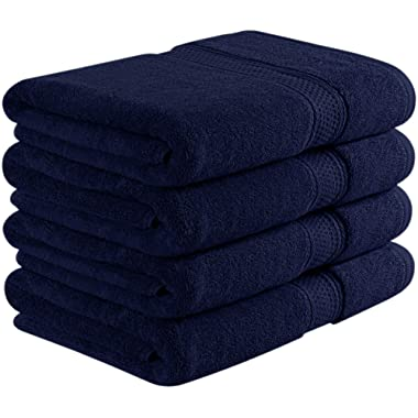 Utopia Towels 700 GSM Premium Bath Towels - 4 Pack Towel Set - (27x54 Bath Towels) - 100% Ring-Spun Cotton Towels for Home, Hotel and Spa (Blue)