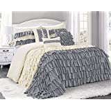 7 Piece BRISE Double Color Ruffled Comforter Set-Queen King Cal.King Size (Queen, Ivory/Gray)