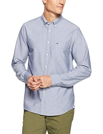 17137f1e Tommy Hilfiger Men's Engineered Oxford Long Sleeve Shirt, Estate Blue, Large
