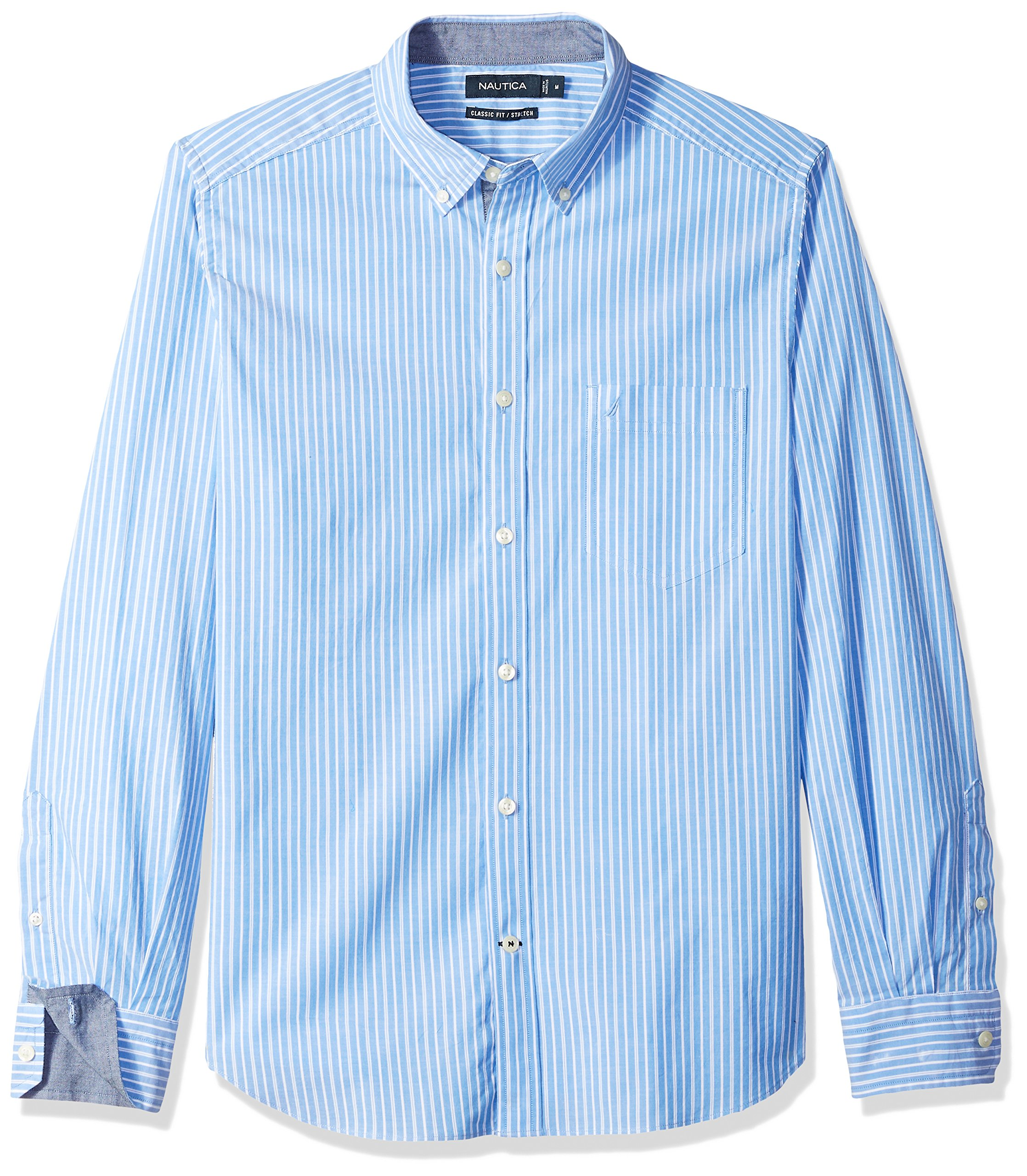 Nautica Men's Classic Fit Stretch Striped Long Sleeve Button Down Shirt, Light French Blue, Medium