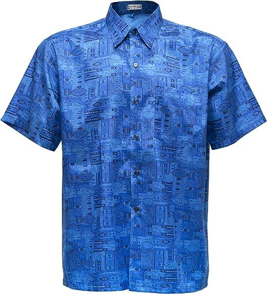 Camiseta para Hombre de Manga Corta de Seda tailandesa Estampado Paisley Mezcla Azul, Mix Blue, XXX-Large: Amazon.es: Hogar