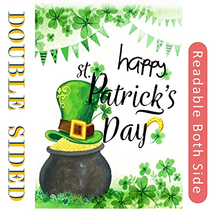 Happy St Patricks Day Garden Flag Double Sided ReadSt Patrick Shamrock Clover