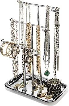 Amazon Com Jewelry Tree Necklace Holder Stand Tabletop Organizer Bracelet Hanger Tower Three Tier Display Ring Tray Silver Finish Gar599 Home Improvement