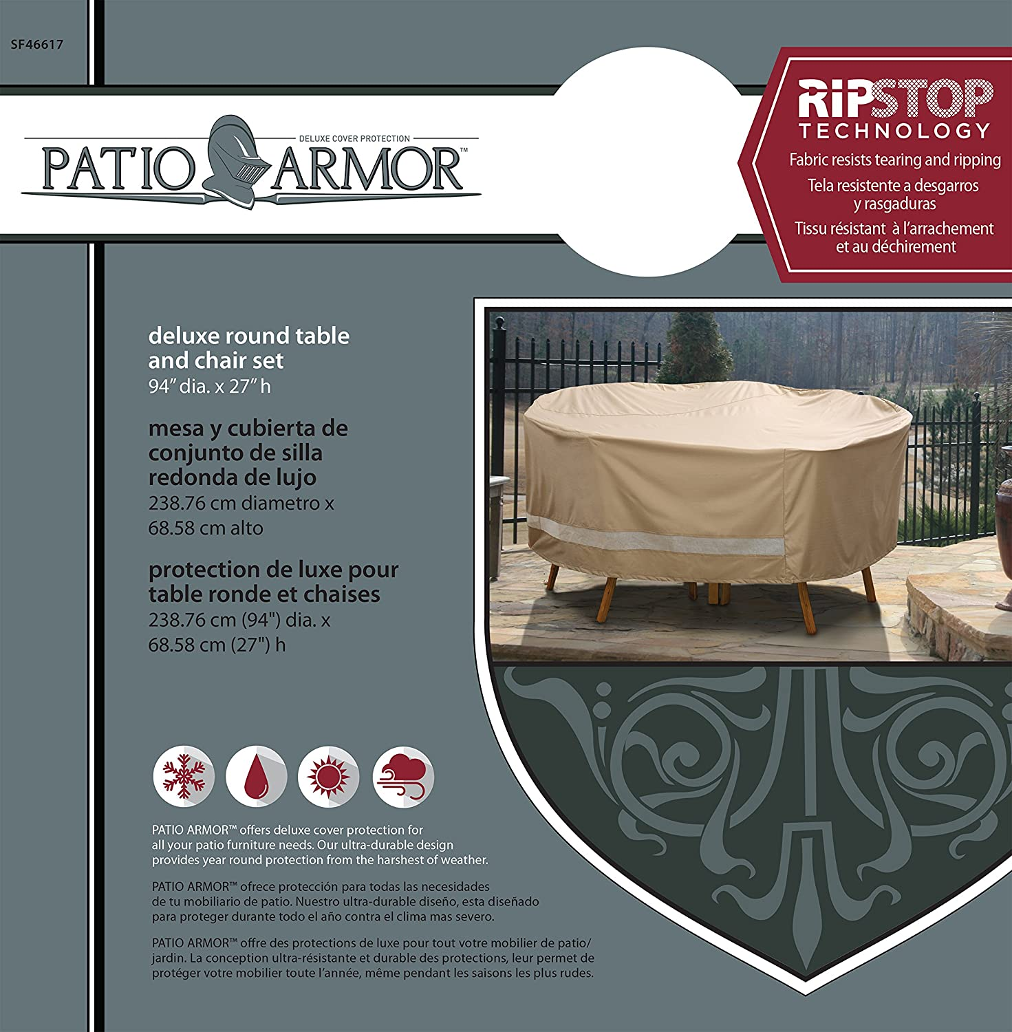 Amazon.com : Sure Fit Patio Armour Ripstop Deluxe Round Table and Chair Set Cover : Garden & Outdoor