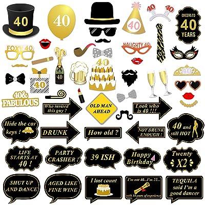 40ème anniversaire Accessoires Photo Booth props, Konsait 40 ans noir et faux or joyeux anniversaire décorations Photo Booth Masquerade avec bâton pour 40ème célébration d'anniversaire