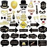 40 cumpleaños de la cabina de fotos apoyos, Konsait 40 cumpleaños decoracion DIY Photo Booth props apoya el kit unisex para fiesta de cumpleaños (53 cuentas)