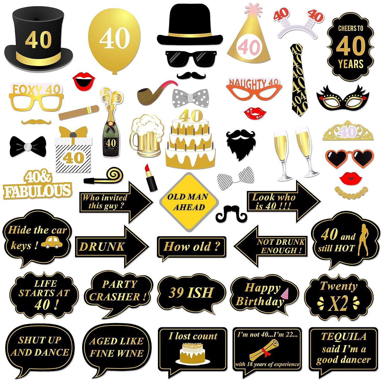 Amazon Konsait 40th Birthday Party Photo Booth Props 53pcs