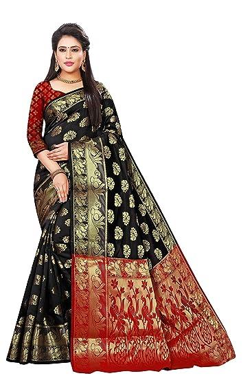 c28db8d32ec062 Indian Fashionista Women s Banarasi Silk Jacquard Saree With Blouse Piece  (1158-Black-Red
