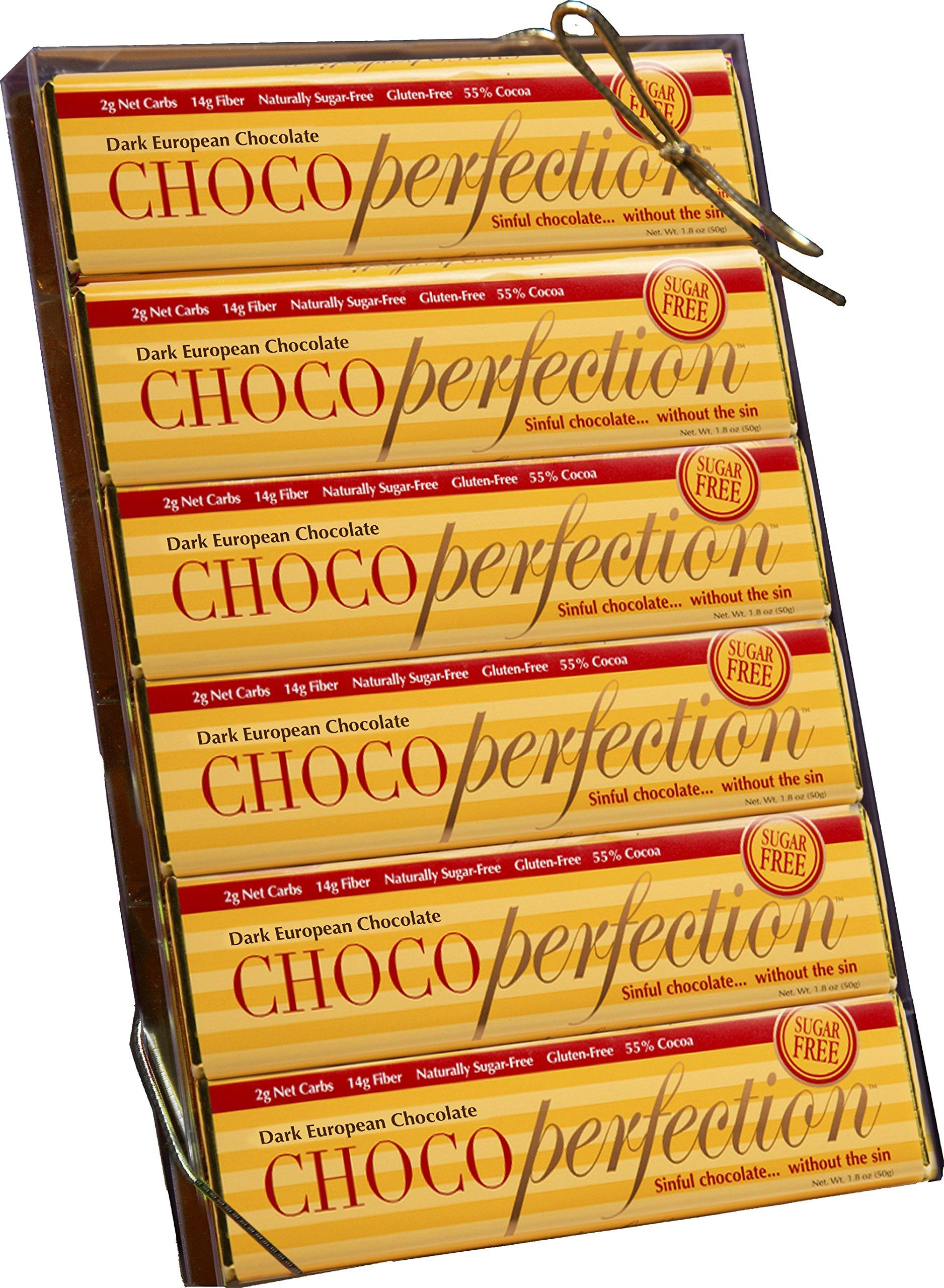 ChocoPerfection Dark Sugar Free Chocolate, Gift Box of 12 50g Bars