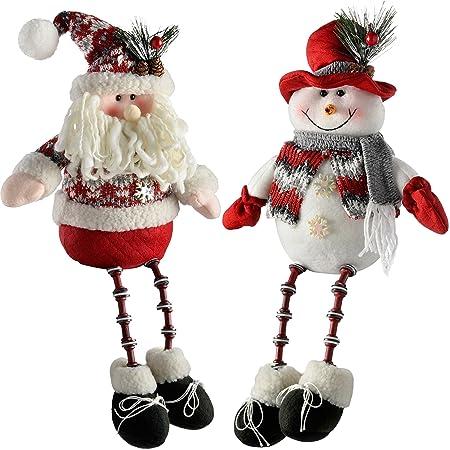 werchristmas sitting santa snowman with button legs christmas decorations 41 cm redgrey - Santa Snowman 2