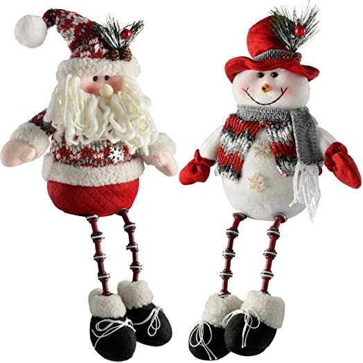 WeRChristmas Sitting Santa Snowman with Button Legs Christmas ...