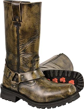"Milwaukee Leather Men/'s 11/"" Harness Cowboy Boot w// Braiding /& Rivet Detailing"