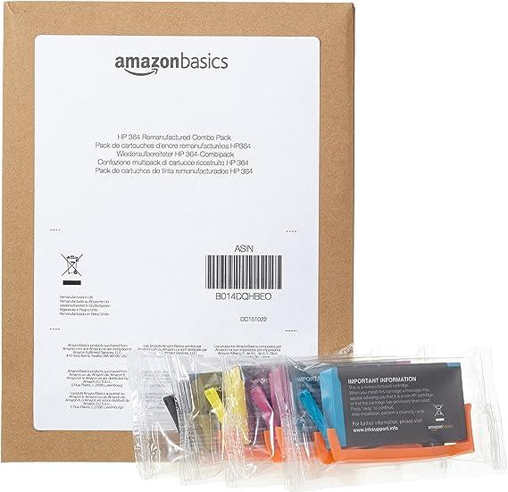 AmazonBasics HP 364 - Recambio de cartucho de tinta remanufacturado, combo pack (negro, cian, magenta y amarillo): Amazon.es: Oficina y papelería