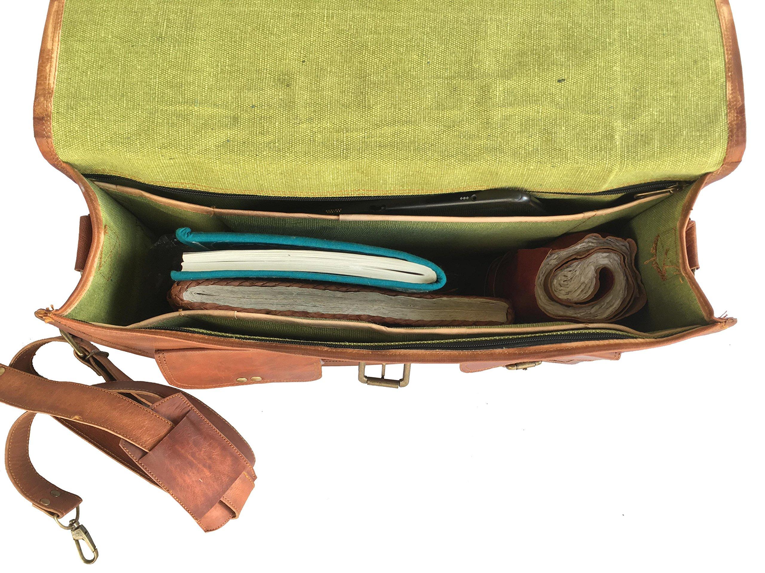 Handolederco 18'' Inches Classic Adult Unisex Cross Shoulder Leather Messenger Laptop Briefcase Bag Satchel Brown