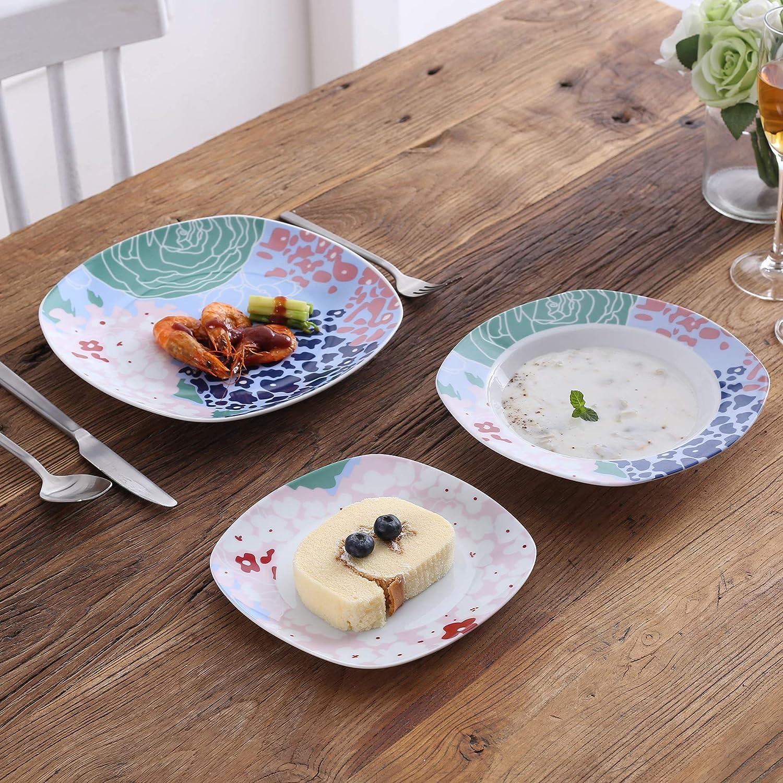 VEWEET Olina Servizio di Piatti in Porcellana Stoviglie Set 36 Pezzi con 12 Piatti 12 Piatti Fondi e 12 Piatti da Dessert per 12 Persone