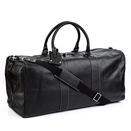 BACCINI real leather travel bag holdall TOBY