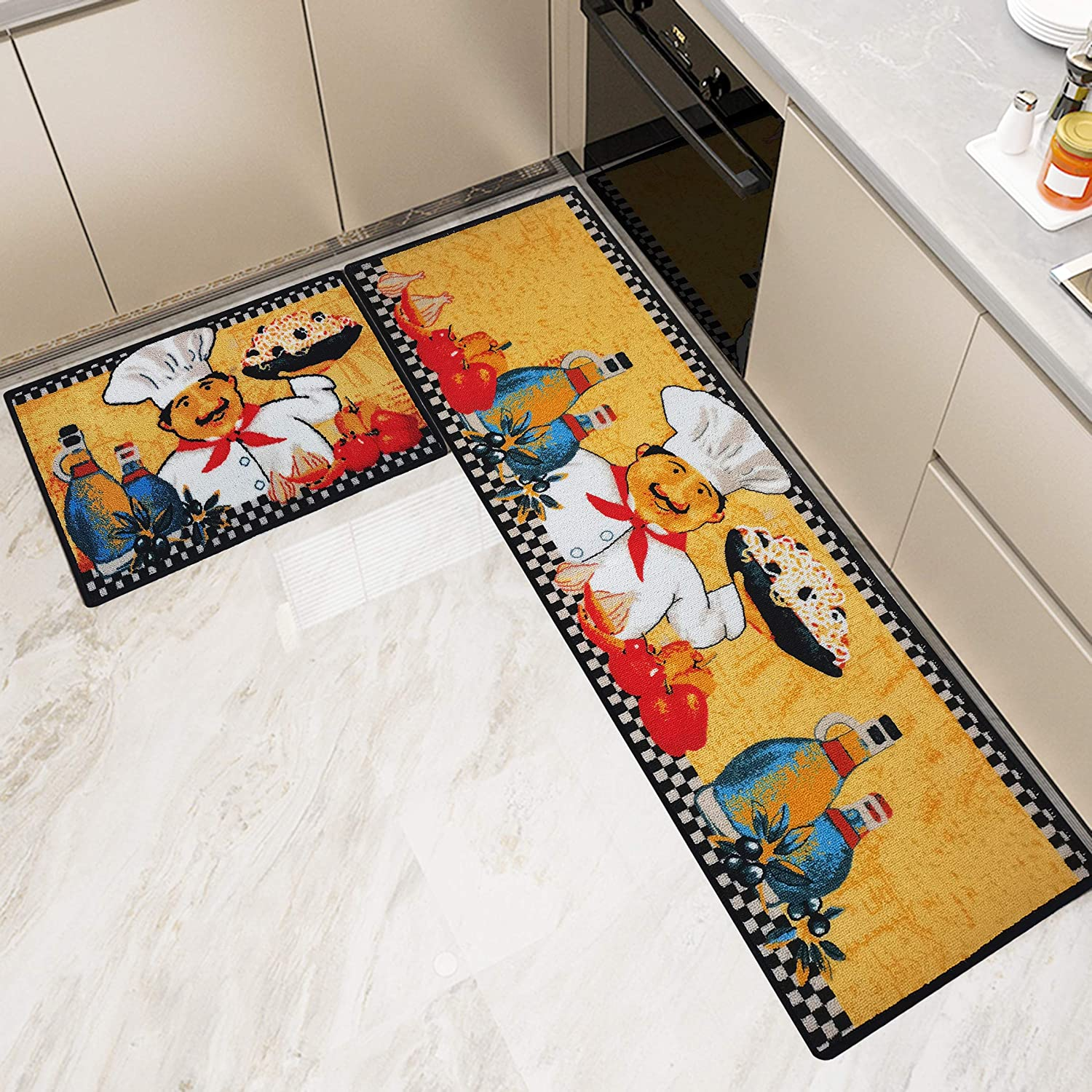 Kitchen Rugs and Mats Non Skid Washable Set 2 PCS, Water Absorb Microfiber Standing Kitchen Area Decor Mats and Rugs Rubber Backing Soft Carpet Doormat Runner for Home Floor, Noodle Chef