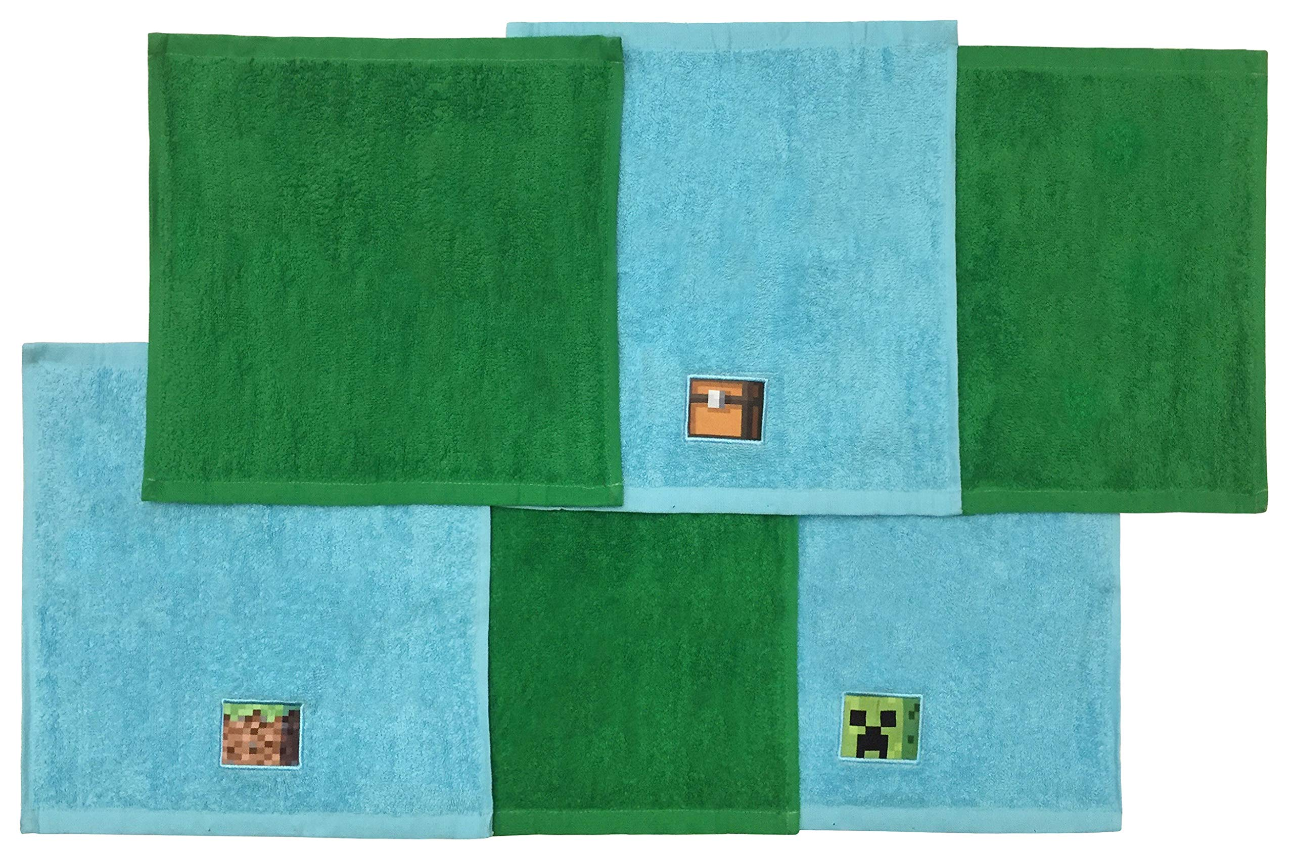 Minecraft Overworld Adventure 6 Piece Cotton Washcloth Set - Featuring Creeper, 12'' Inches x 12'' Inches