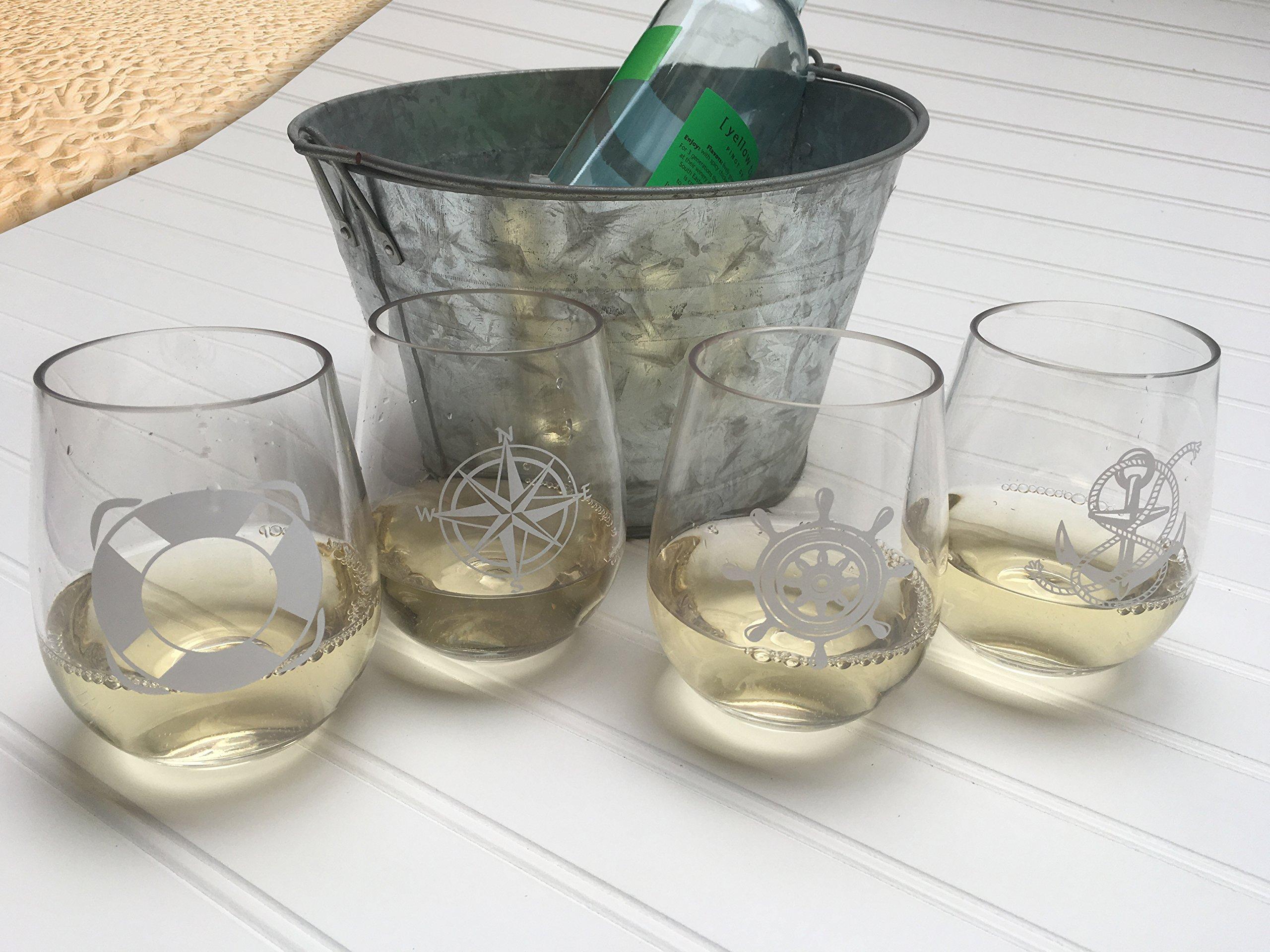 SET OF 4 -Stemless Boat Wine Glasses-Nautical Themed, Plastic, 16oz, Pool Wine Glasses, Shatter Proof Drinking Glasses…