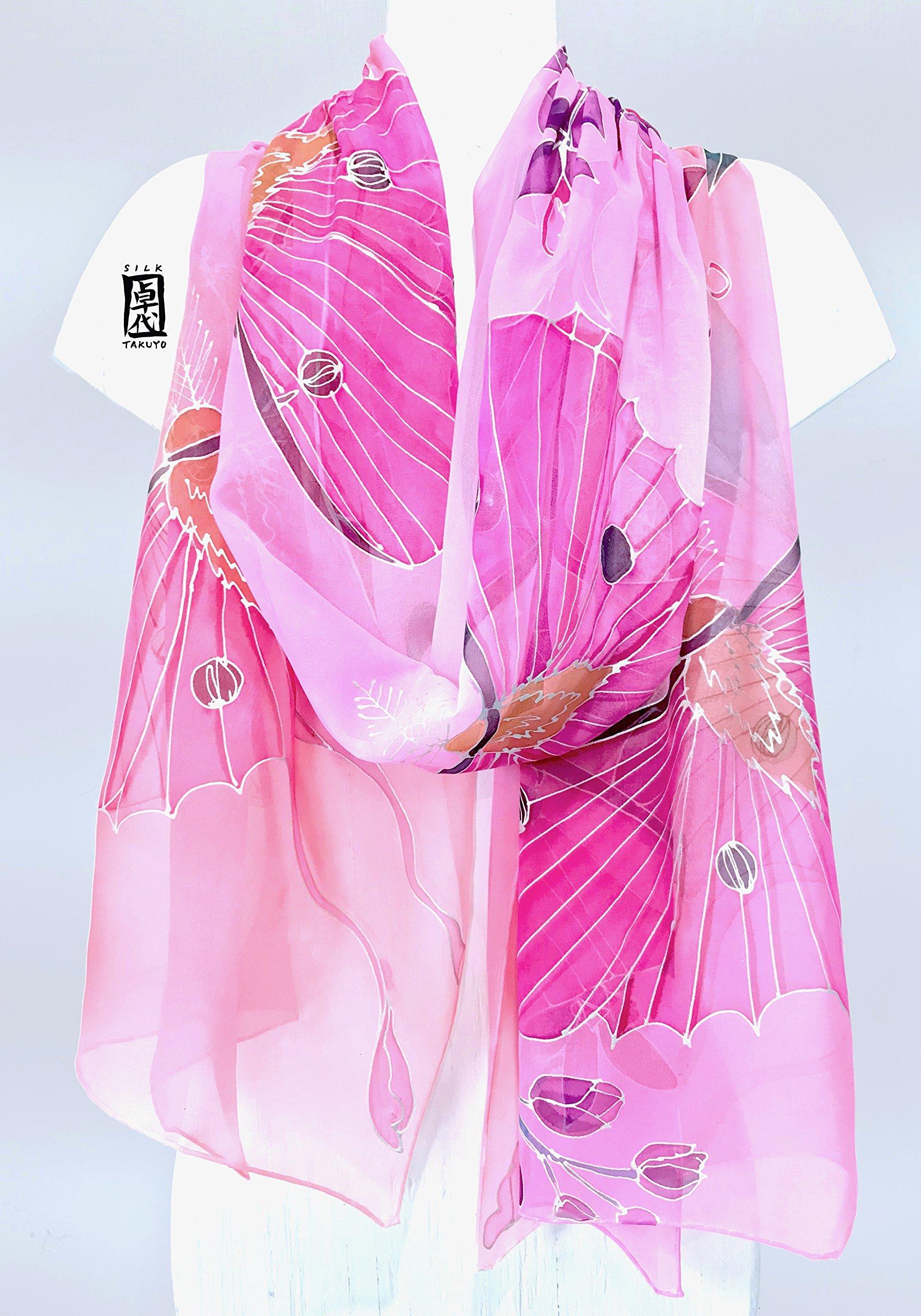 Luna Moth Shawl Wrap in Pink, Hand Painted Silk Scarf,