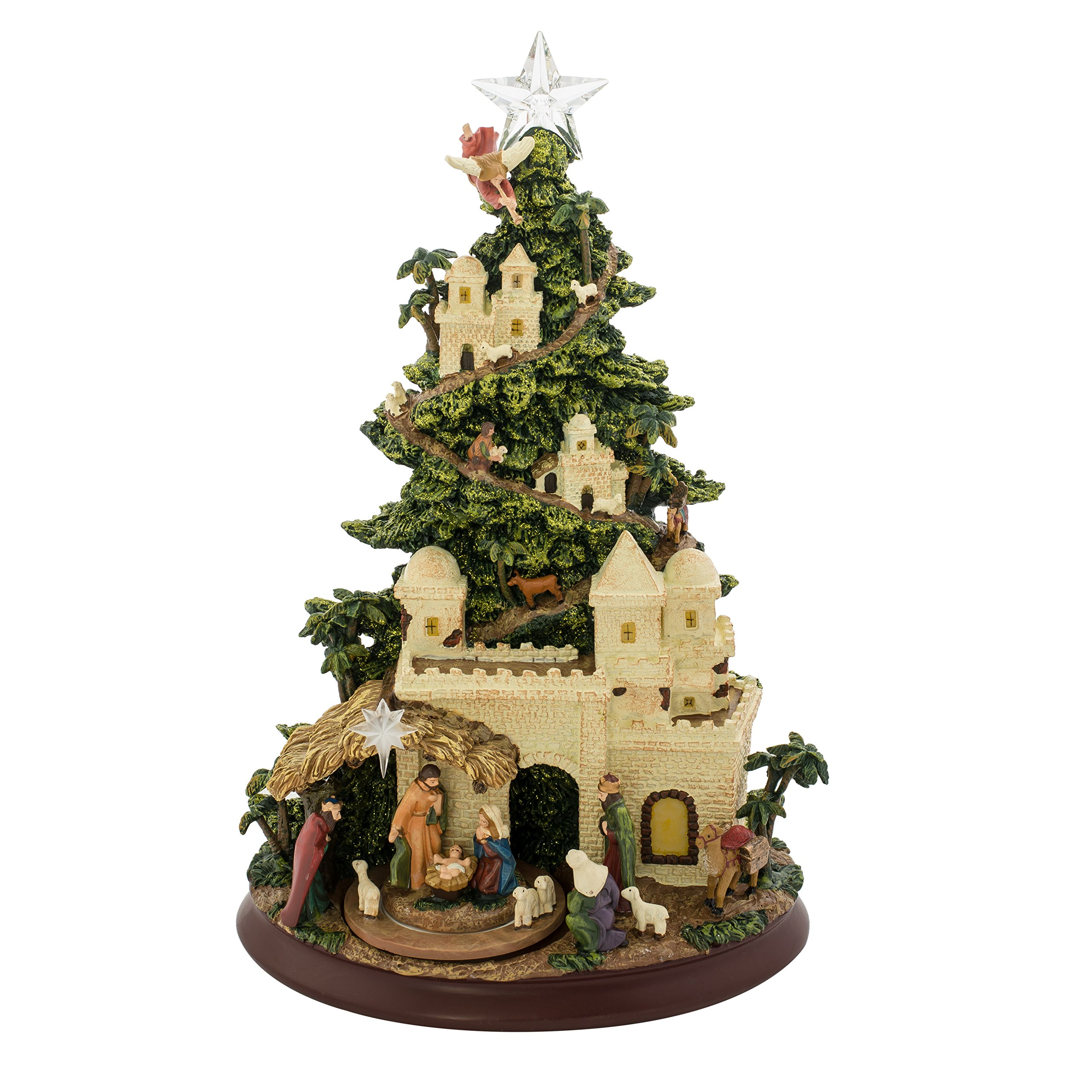 Nativity Scene Glitter Musical Light Up Tree 13 Inch Resin Tabletop Display Plays Silent Night by Roman