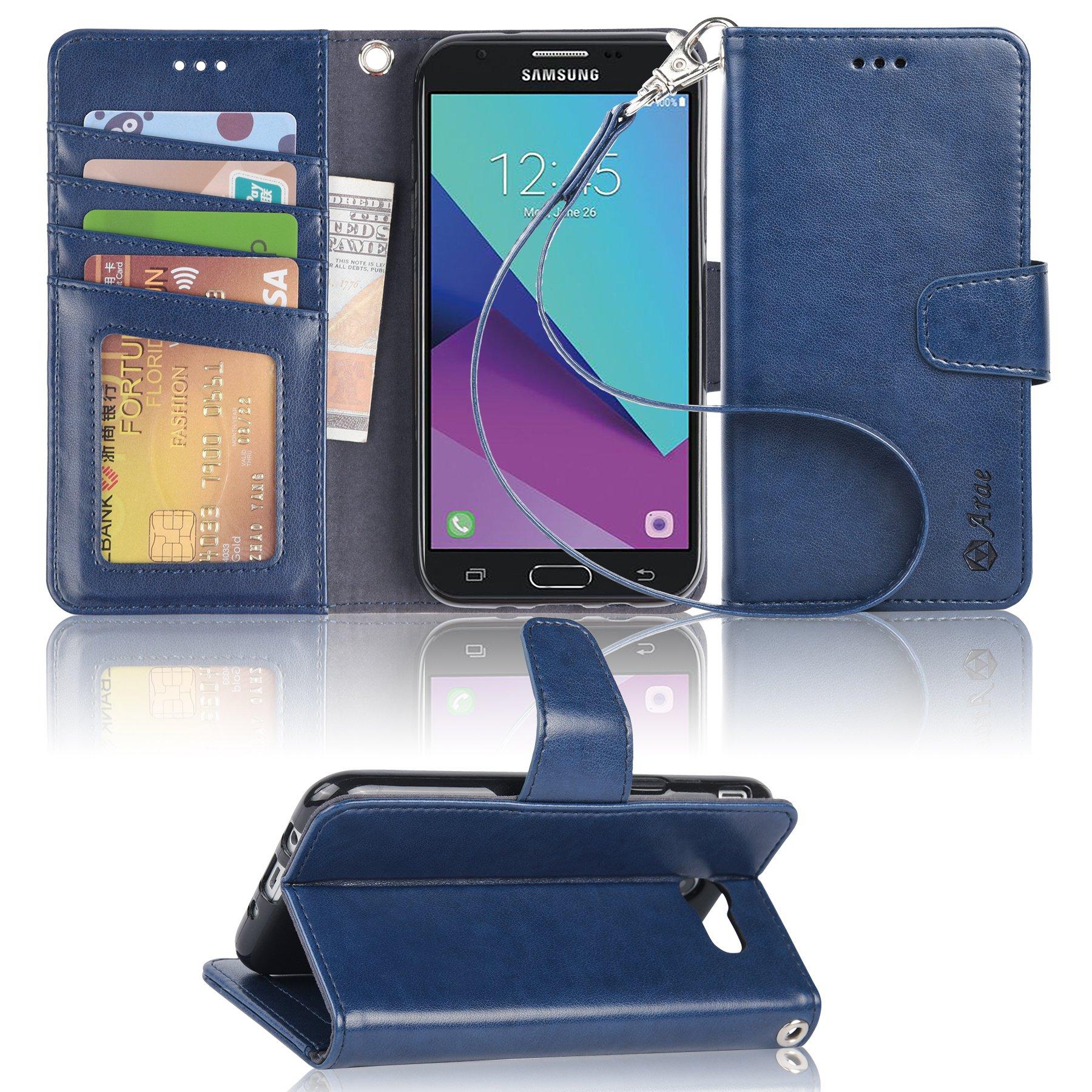 Galaxy J7 V / J7 2017 / J7 Prime / J7 Perx / J7 Sky Pro/Galaxy Halo Case, Arae Samsung Galaxy J7 2017 Wallet Case with Kickstand and Flip Cover, Blue