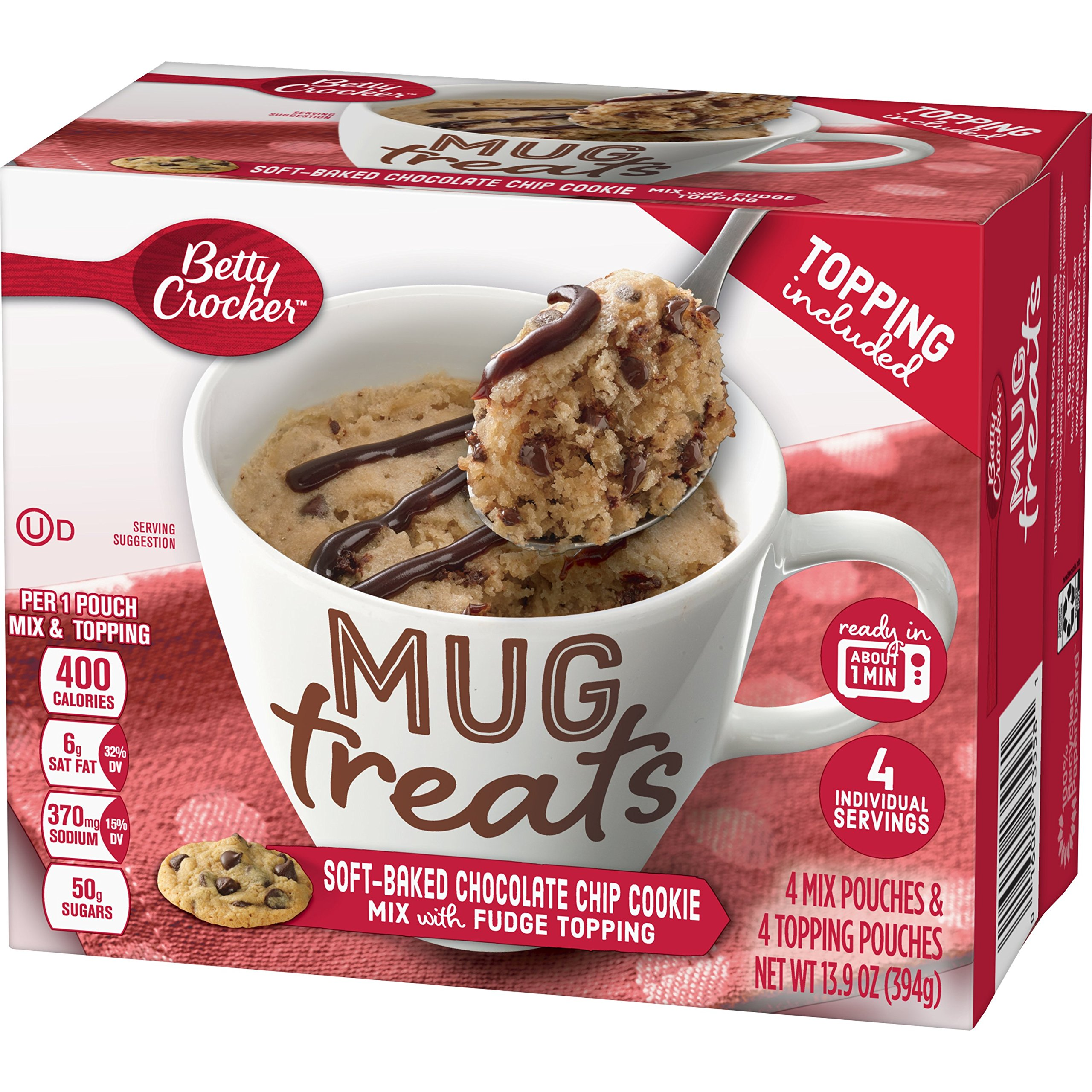 Betty Crocker Baking Mug Treats Soft-Baked Chocolate Chip Cookie Mix with Fudge Topping, 13.9 oz(us)