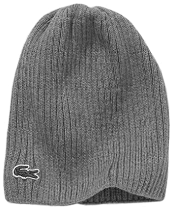 5b2e087531 Lacoste Men's Rib Beanie Accessories, Grey (Stone Shine), One Size ...