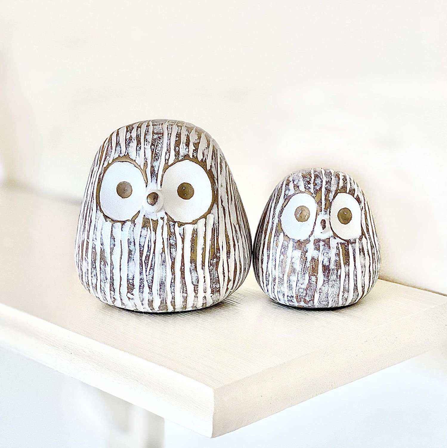 Huey House Chubby Night Owl Decor Statue Sculpture, Bookshelf Decor Accents, Boxed Set of 2 Rustic Brown & White Decorative Figurines
