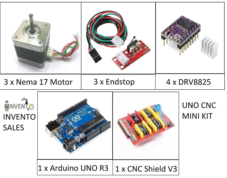 invento isc 353 3x nema 17 4 kg-cm motor + 1x cnc shield v3 + 4x drv8825  driver + 3x endstop + 1x arduino uno cnc kit: amazon in: industrial &  scientific