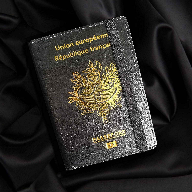 dEmbarquement et de Cr/édit Porte Passeport Noir et Dor/é Future Odyssey pour Homme /& Femme en Cuir Synth/étique avec S/écurit/é Anti-vol RFID Prot/ège Passeport avec Emplacements pour Cartes dIdentit/é