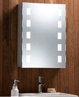 armoire de toilette pour salle de bain avec miroir lumineux antibue prise pour rasoir - Prise Pour Salle De Bain