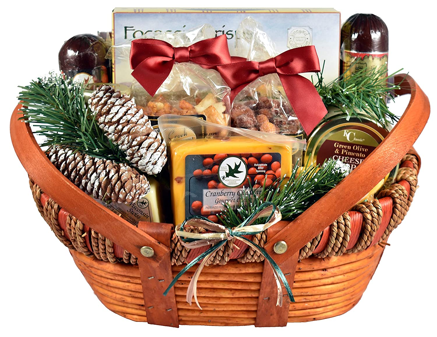 Amazon Com Gift Basket Village Home For The Holidays Cheese And Sausage Christmas Gift Basket With Wisconsin Cheeses And Unique Sausages 6 Pound Gourmet Baked Goods Gifts Grocery Gourmet Food