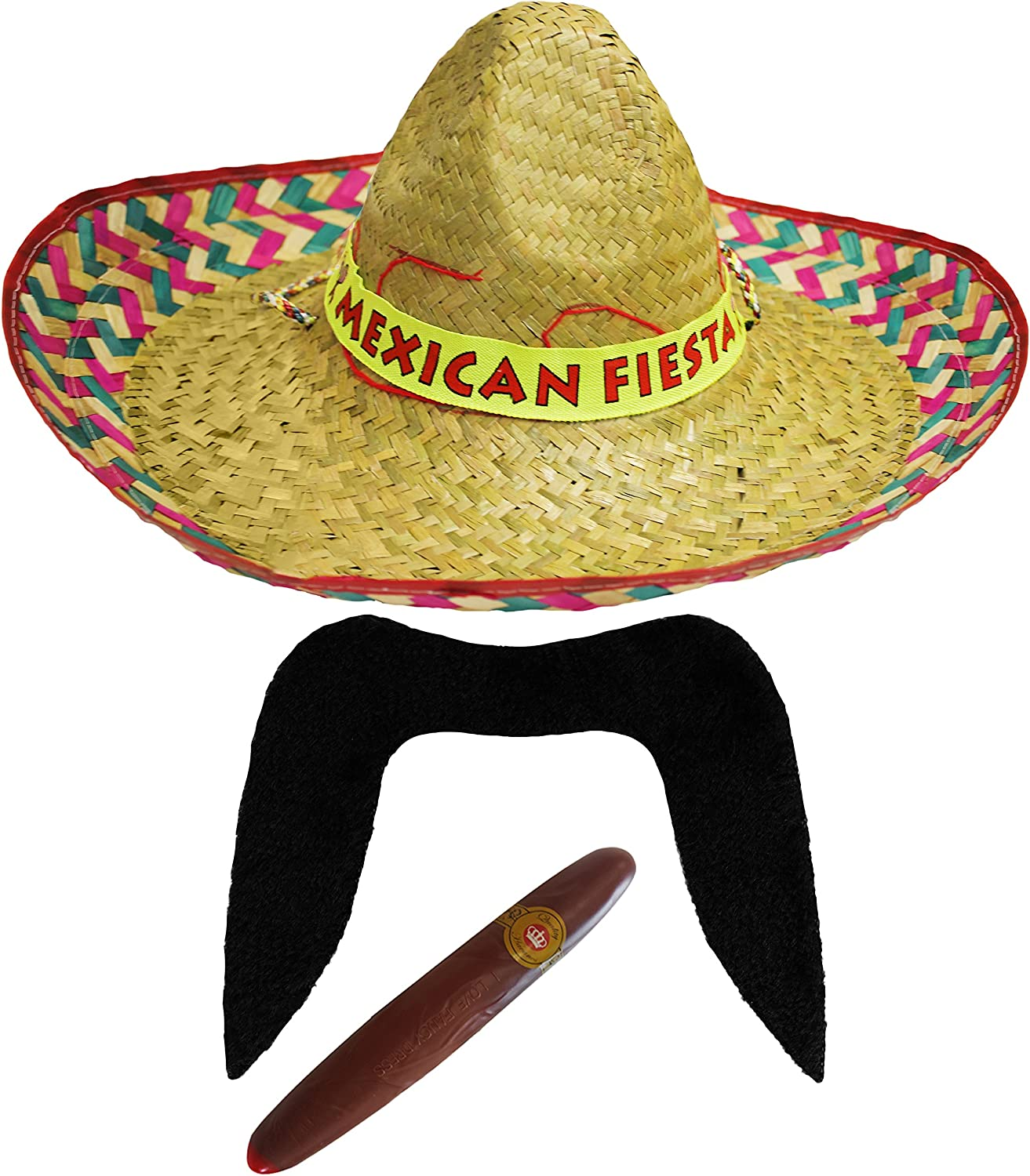 BLACK SOMBRERO STRAW HAT ADD MOUSTACHE CIGAR BANDIT MEXICAN FANCY DRESS COSTUME