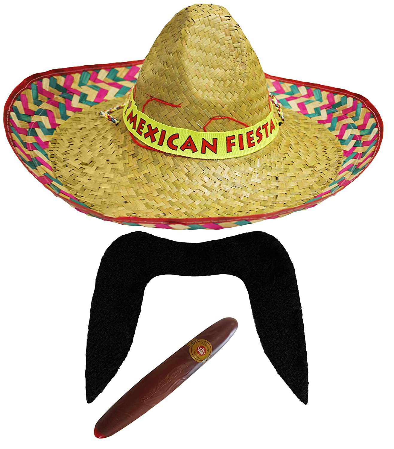 e42f2b52314d LADIES MEXICAN SOMBRERO WITH MEXICAN FIESTA BAND SOMBRERO + MOUSTACHE +  JUMBO CIGAR NOVELTY FANCY DRESS ACCESSORY FANCY DRESS COSTUME SET