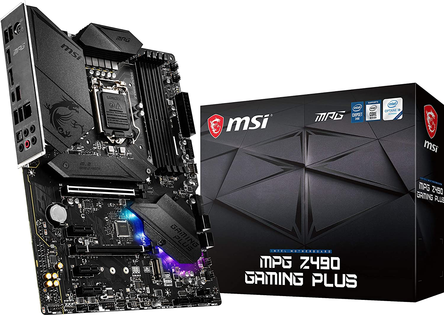 MSI MPG Z490 Gaming Plus Gaming Motherboard (ATX, 10th Gen Intel Core, LGA 1200 Socket, DDR4, CF, Dual M.2 Slots, USB 3.2 Gen 2, 2.5G LAN, DP/HDMI, Mystic Light RGB)
