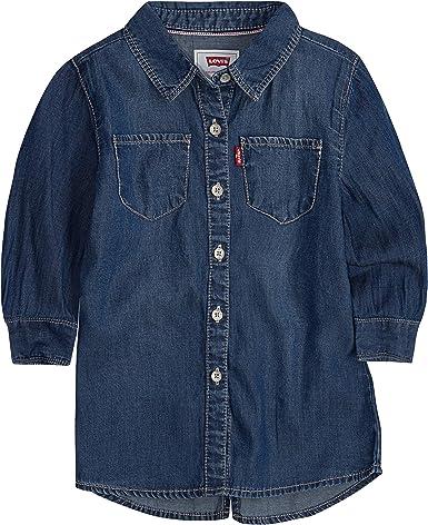 Levis Niñas manga 3/4 Camisa de botones - Azul - Large: Amazon.es: Ropa y accesorios