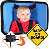Premium Infant Carseat Mirror & Baby on Board Sign: View Backseat Without Risk! Headrest Mirrors for Parents in the Drivers Seat to See Their Kids in the Rear Seats. Car Travel Head Rest Accessories